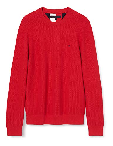 Tommy Hilfiger Bold Textured Cotton Sweater Suéter, Red, X-Large para Hombre