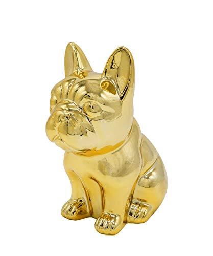 Ceramic Dog Statue - Sitting French Bulldog (Metallic Gold)