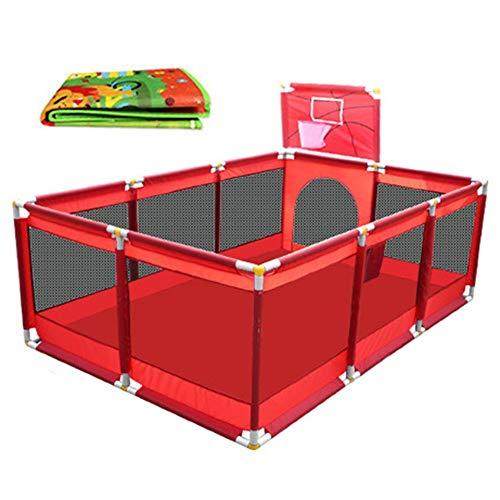 Extra großer Baby-Laufstall für Zwillinge, Kinderreisefach mit Bodenmatte, rotes Oxford-Tuch, 128 × 190 × 66 cm
