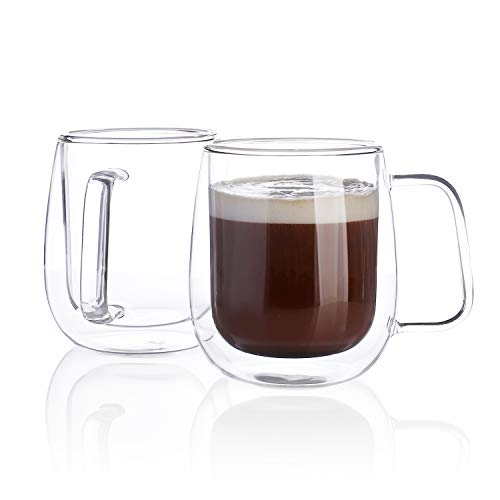 Sweese 418.101 Glass Coffee Cups Double Wall Glass Set of 2 Insulated Latte Mugs,12 oz, best insulated coffee mug with handle