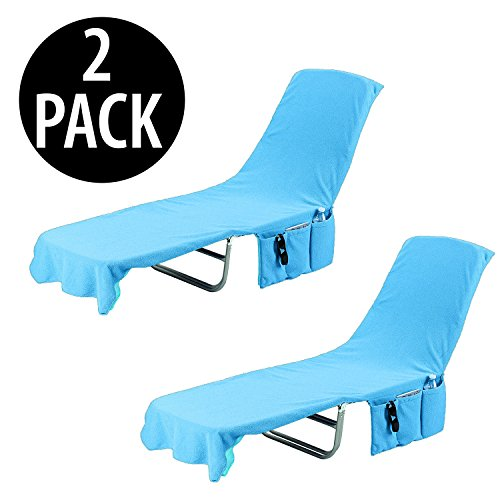 Kovot 2-in-1 Lounge Chair Towel Cover & Carrier (Blue) - Measures 84' L x 26' W (2 Pack)