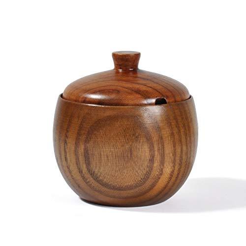 LGDD Azucarero de madera maciza, salero y pimentero, estilo japonés con tapa, herramientas de cocina