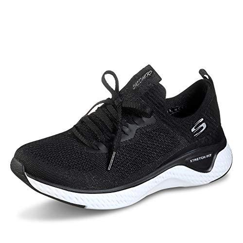 Mujeres Skechers Solar Fuse para Caminar Ligero Corriendo Acolchada Zapatillas - Negro/Blanca - 36