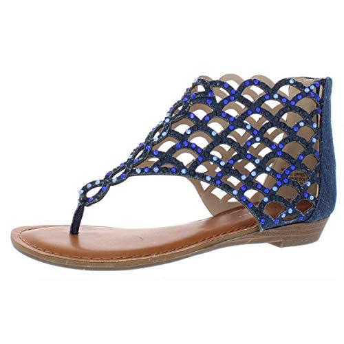 ZIGI SOHO Womens melaa Fabric Open Toe Casual T-Strap Sandals Blue