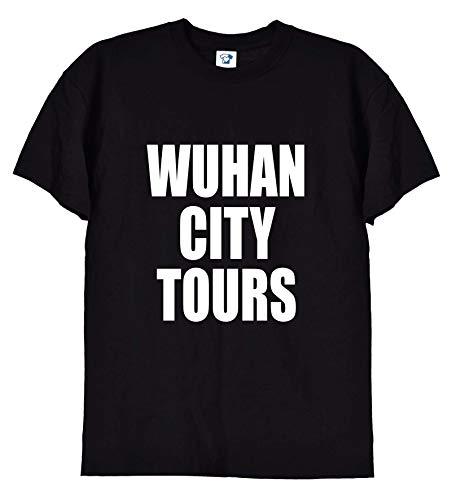 TrendySnug Tees Wuhan City Tours - Maglietta con scritta 'Coronavirus', unisex, 246 Nero  XL