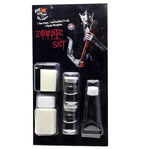 Kit de Zombi con lentillas Blancas de Contacto, Leche de látex y Sangre-Halloween Maquillaje Conjunto
