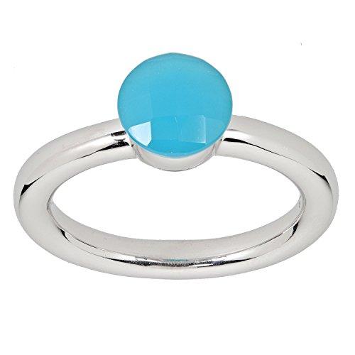 LaLuna Design Damen-Ring Sterling-Silber 925 rhodiniert Türkisachat Türkis-Achat RW20