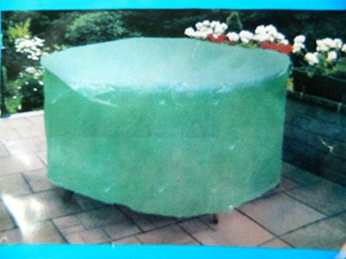 bache Housse ronde verte de protection salon de jardin table chaises 125x70cm