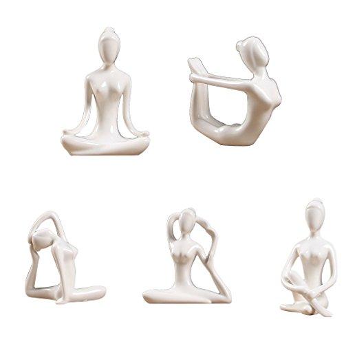 PETSOLA 5X Keramik Yoga Figur Statue Sammlungen Handwerk Geschenk Haus Zen Garten Dekor