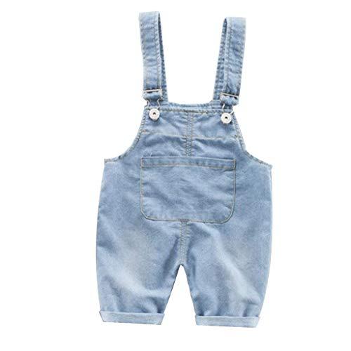 Fenverk Baby Jungen Mädchen Denim Overall Jeans Hose mit Hosenträger Kinder Latzhose,Kinder Jeanshose Latzhosen Jeans Hosen Baby Kinder Overall 0-3Y(Blau,110)