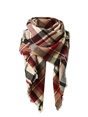 American Trends Women's Fall Winter Scarf, Classic Tassel Plaid, Warm Soft Chunky Blanket Wrap Shawl Scarves, Large, Pink/Beige/Red/Black/Brown