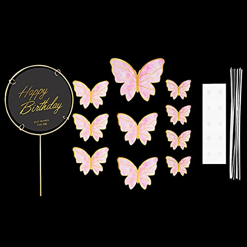 JinEamy-uk 1Set Butterfly Paper Cake Topper Happy Birthday Cupcake Toppers For Baby Shower Wedding Party Girl Birthday Cake Decoration ( Color : A07 1set )