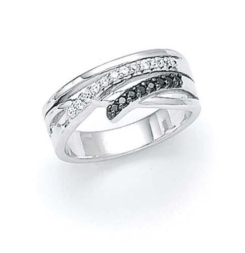 Plata de ley de blanco y negro anillo diamante en bruto - tamaño N 1/2 - JewelryWeb
