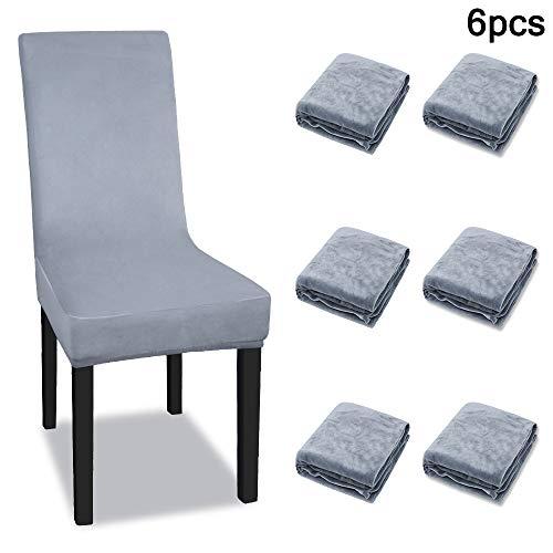 UISEBRT - Juego de 6 fundas para silla elásticas, color antracita/gris, modernas y desmontables, lavables, para bodas, fiestas, cumpleaños
