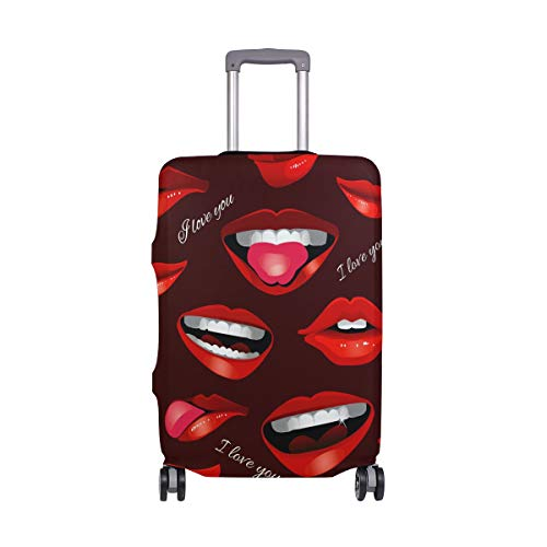 Travel Luggage Cover Protector I Love You Red Mouth Lips Suitcase Baggage Cover Spandex for Adult Women Men Teen Fits 22-24 Inch