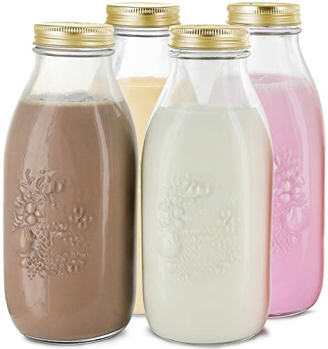 Estilo Dairy Reusable Glass Milk Bottles with Metal Lids (Set of 4), 33.8 oz, Clear