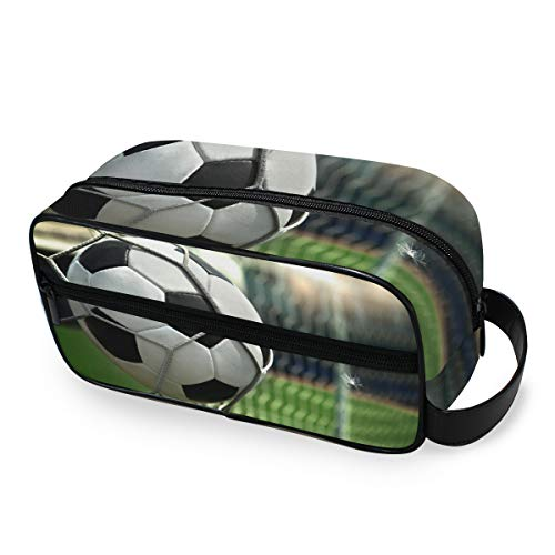 Sac de maquillage portable Trousse de toilette Outils de voyage Cosmétique Train Case Storage Football Shooting Soccer Goal Cute