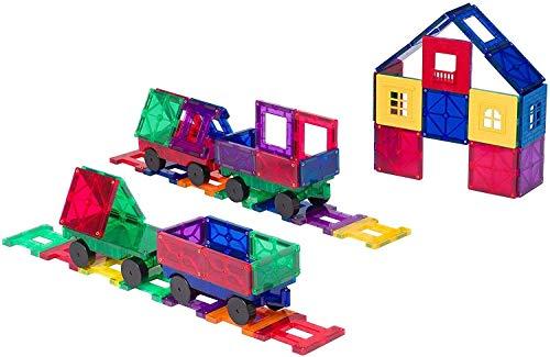 Playmags Conjunto de 50 Piezas accesorias Ahora con imanes más Fuertes, Resistentes y duraderos, con baldosas de Colores Vivos y Transparentes. , Color/Modelo Surtido