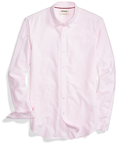 Amazon Brand - Goodthreads Men's Slim-Fit Long-Sleeve Stripe Oxford Shirt, Pink/White, X-Large