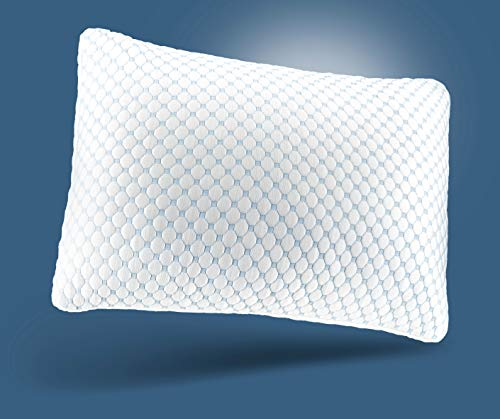 Noggin & Wink Ice Silk Cooling Pillows with Cooling Gel Infused Memory Foam and Cooling Technology Cover, Adjustable. Hypoallergenic, Washable Removable Cover, Queen Size 20'x28'