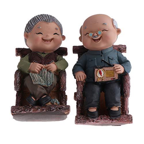 KESOTO Vintage Oma/Opa älteres Paar Statue, Geschenkidee, Tischdeko, Innen/Außrndeko - Schaukelstuhl