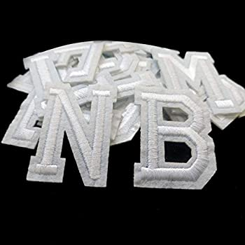 Iron on Letter Patches 52 Pieces,White Letter Patches Alphabet Embroidered Patch A-Z,for Hats Shirts Jeans Bags White