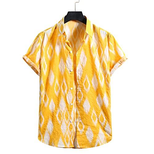 SSBZYES Camisas para Hombres Camisas De Playa para Hombres Camisas De Moda Estampadas De Verano Camisas Florales De Manga Corta con Diamantes Sueltos Informales Hawaianos