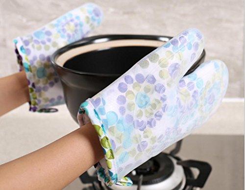 Dbtxwd Bref paragraphe épaississement matelassé Silica gel micro-ondes gants isolants four haute température cinq cuisine de gants doigts Anti-hot cuisson