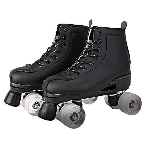 YUANYI Erwachsene Rollschuhe Für Mädchen Damen Rollerskates Quad Skating Outdoor Sports,Black-43