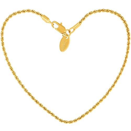 Lifetime Jewelry 1mm ロープチェーンブレスレット レディース メンズ 24K 純金メッキ Small, Medium and Large ゴールド