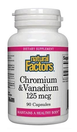 Natural Factors, Chromium & Vanadium 125 mcg, Supports Metabolism and Healthy Blood Sugar Levels Already in a Normal Range, 90 capsules (90 servings)