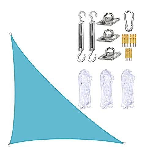 JMBF Sombrilla triangular para exteriores, multicolor, para patio, impermeable, con kits de fijación y tela de cuerda, perfecta para patio al aire libre, color azul claro, 5 x 5 x 7,1 m