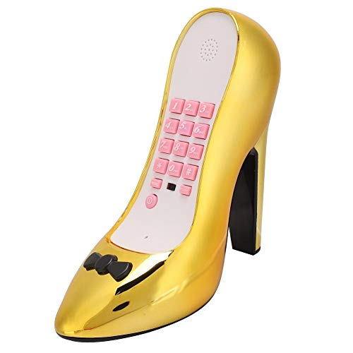 Teléfono de línea Fija con Forma de Zapato, Teléfono de Zapato de tacón Alto de Moda Teléfono de Escritorio con línea Fija, Teléfono de Escritorio con electrochapado en Oro para Oficina(Oro)