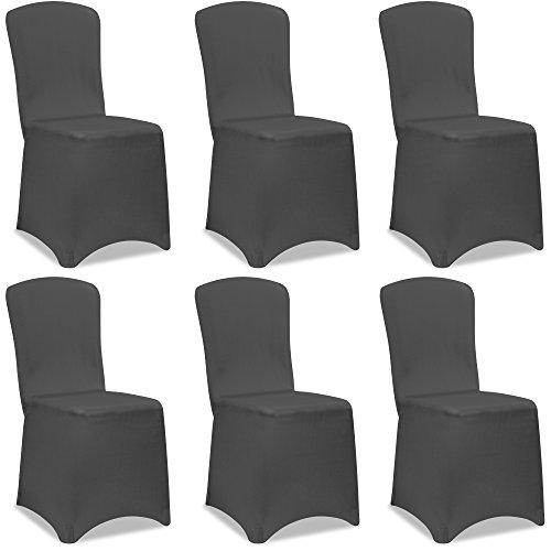 Deuba Set de 6 Fundas para sillas Antracita Juego de Cobertores elásticos de poliéster Lavable Eventos