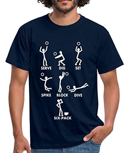 Volleyball Begriffe Serve Dig Set Spike Block Männer T-Shirt, L, Navy