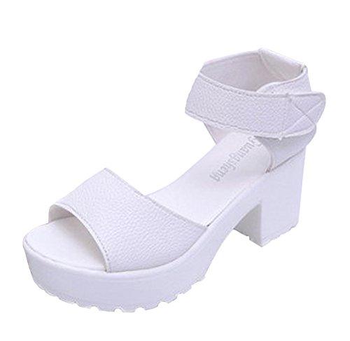 Minetom Damen Sommer Open-Toe Plateau Sandalen Gladiator Schuhe mit Blockabsatz PU Leder Gladiatoren Sandals Weiß EU 36