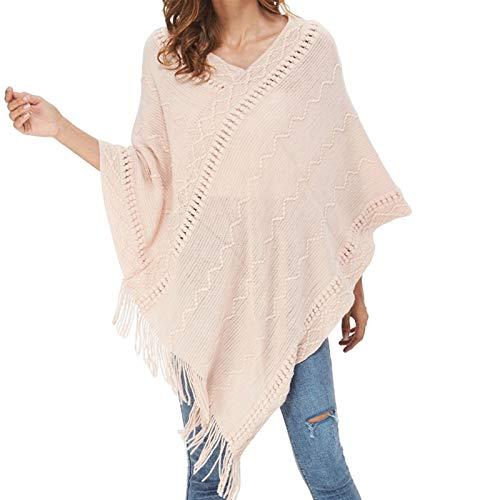 Silk scarf Damska dzianina Ciepła Cape Tassels Cloak Kurtka Płaszcz Zima Capes Szal Płaszcz Kobiety Swetry Sweter Bib scarf (Color : Pink, Size : One Size)