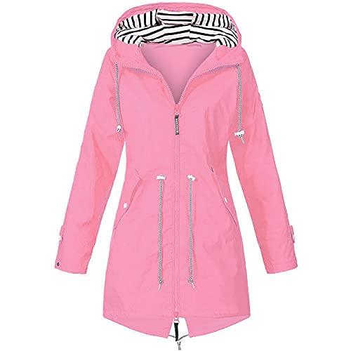 Chaqueta con capucha para mujer impermeable a prueba de viento Color sólido chaqueta de lluvia invierno caliente al aire libre Chaquetas Casual Pocket Coat, rosa, 4XL