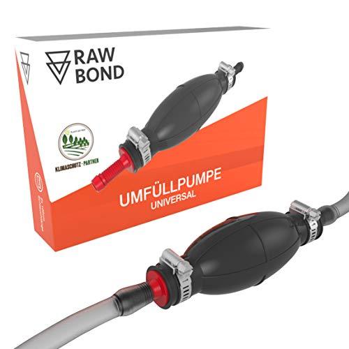 RAWBOND® Universal Handpumpe für Flüssigkeiten - Praktische Umfüllpumpe mit extra robusten Schläuchen - Kraftstoffpumpe z.B. auch geeignet als Benzinpumpe, Öl Handpumpe oder Wasser Umfüllpumpe