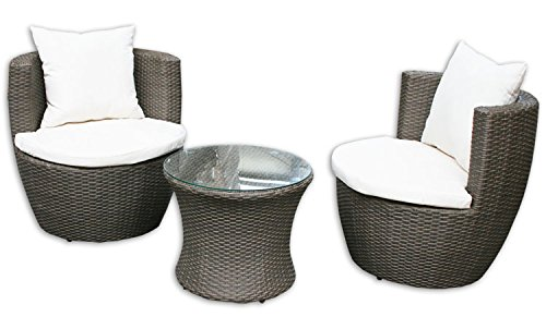 KMH®, 3-teilige Gartensitzgruppe *Felipa* inklusive Sesselauflage und Kissen - Farbkombination: braun/Weiss (#106095)