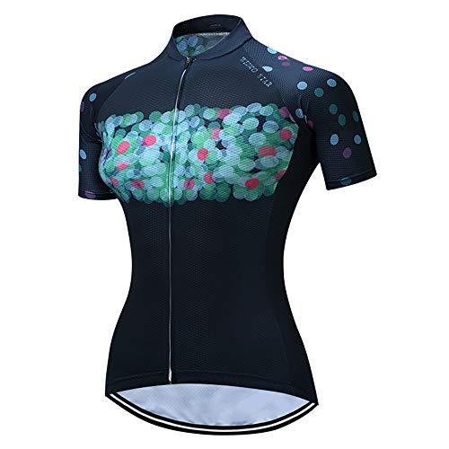"""Camisa feminina de ciclismo e jérsei de verão com manga curta e zíper, Z3, XXXL=Ht69-73""""Wt154-165lbs"""
