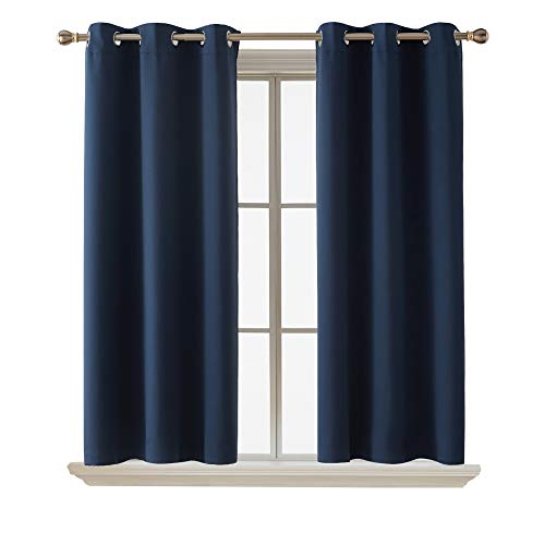 Deconovo Blackout Curtain Room Darkening Thermal Insulated Curtains Grommet Window Curtain for Bedroom Navy Blue 38 x 54 Inch 2 Panels