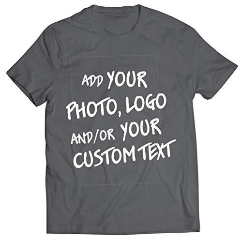 lepni.me Camisetas Hombre Regalo Personalizado, Agregar Logotipo de la Compañía, Diseño Propio o Foto (Large Grafito Multicolor)