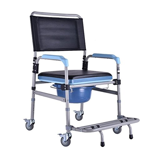 HKNC Folding Portable Shower Chair Commode Mobile Commode and Wheelchair Toilet,with Wheels and Brakes Aid Walking Chair