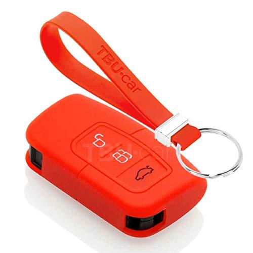 TBU car Funda Carcasa Llave Compatible con Ford - Funda de Silicona - Cover de Llave Coche - Rojo