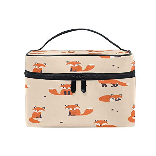 Makeup Bag, Fox Pattern Portable Travel Case Large Print Cosmetic Bag Organizer Compartments for Girls Women Lady