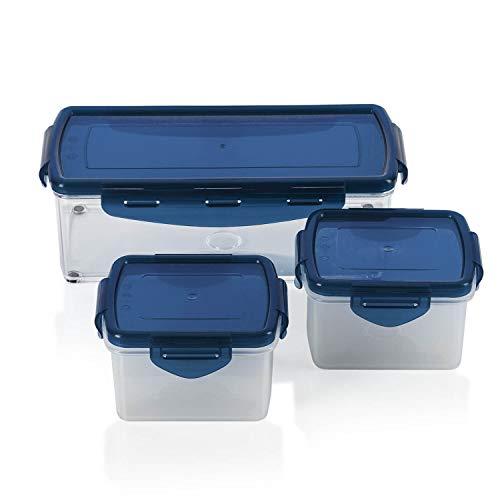 Genius Nicer Dicer Fusion smart (6 Teile) in Saphirblau inkl. Frischhaltedeckel(1x 1,25l & 2x0,4l) Auffangbehälter Dosen Box Aufbewahrungs-box Vorrats-Dose Frischhalte-Dose