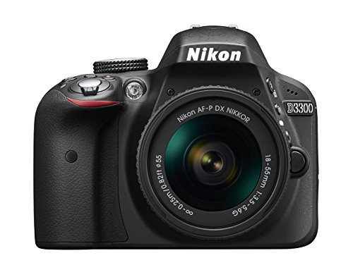 """Nikon D3300 - Cámara réflex de 24,2 Mp (pantalla LCD de 3"""", estabilizador óptico, vídeo Full HD, punto de mira 18 mm) negro - kit con objetivo AF-P DX Nikkor 18-55 mm f/3.5-5.6 G VR"""
