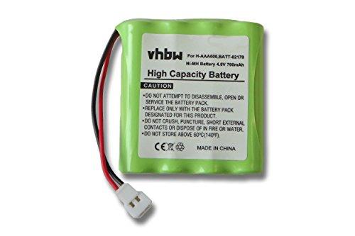 vhbw NiMH Akku 700mAh (4.8V) für Babyphone Lindam BabyTalk, Philips Avent, Summer Infant, Summer Video Monitor wie H-AAA600, H-AAA700, BATT-02170.