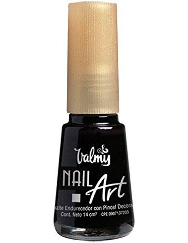 Valmy Pintauñas Nail Art Decorativo con Pincel de Precisión – Esmalte de Uñas de Larga Duración Para Manicura Francesa, Decoración o Dibujos de Uñas con Liner Super Fino y Secado Rápido (Negro)